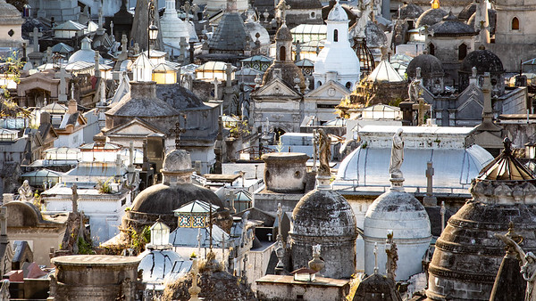 Looking down on the densely packed tombs in the Recoleta Cemetery.