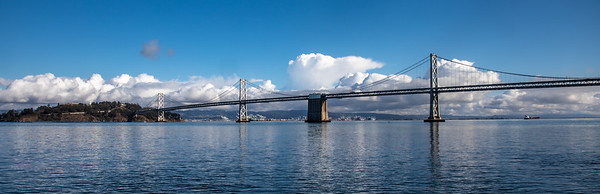 Oakland Bay Bridge as seen from the Ferry Building in San Francisco
