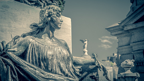 Some of the art that adorns the tombs of the Recoleta Cemetery