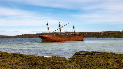 Lady Elizabeth rests in Stanley Harbor after an ill fated voyage hauling lumber from Vancouver, Canada