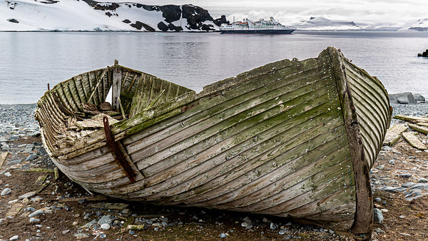 An old whaling boat on Half Moon Island.