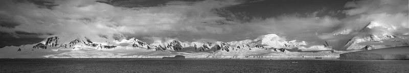 A black and white panorama of Neumayer Channel as we  departed to our afternoon destination.  Probably not a restaurant anywhere else in the world with such spectacular vistas for lunch.