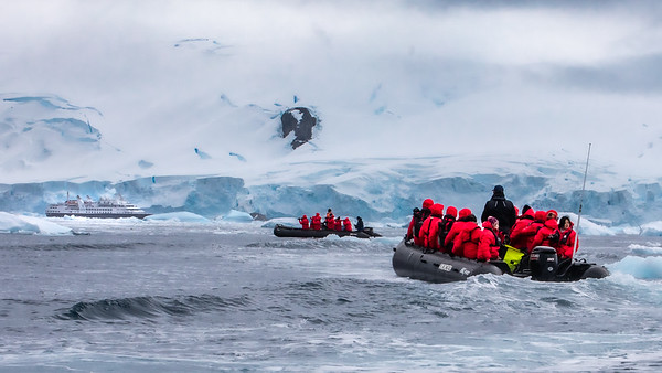We regrouped with a few other zodiacs as we made our way back to the ship.  The Cierva Cove glacier looms high over the ship.