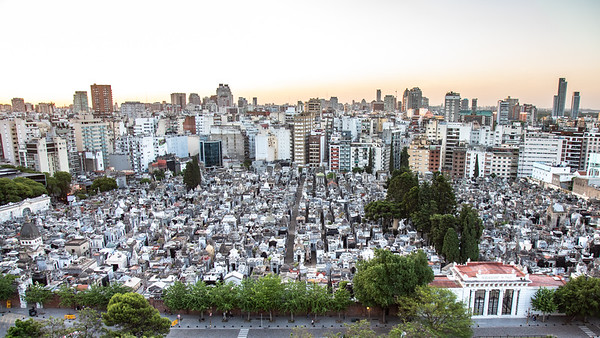 Looking down on the Recoleta Cemetery from the roof of the Hotel Etolie in Buenos Aires