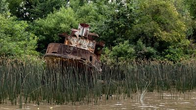 A derelict boat run aground on the Lujan River in Tigre, Argentina