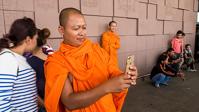 The Buddhist monk with the golden iPhone.  Phnom Penh,.