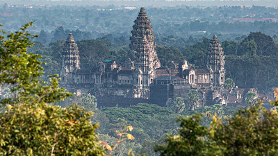 The Northwest view of Angkor Wat as seen from Phnom Bakheng.