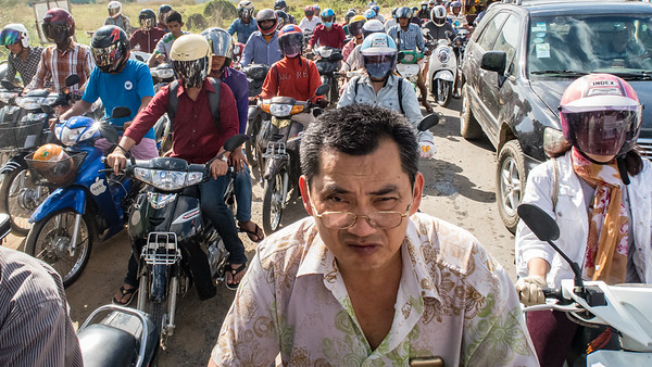 We had no idea if it was rush hour, but in Phnom Penh, Cambodia, anything goes if you can get your motorbike to the front of the pack.