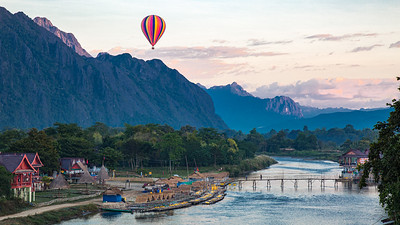 Each morning a balloon would glide over the Nam Song river outside our hotel room in Vang Vieng.  It was only logical that Linda and I should do it ourselves.