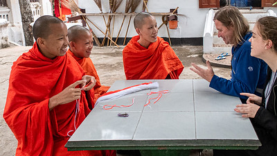 Another Westerner and myself sharing happy moments with monks in Luang Pragang.  For them to converse with us is an opportunity to increase their English language skills at which they are quite proficient.