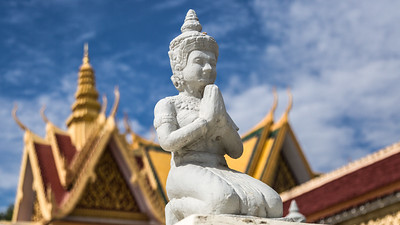 A buddha watches over the grounds of the Royal Palace, Phnom Penh, Cambodia