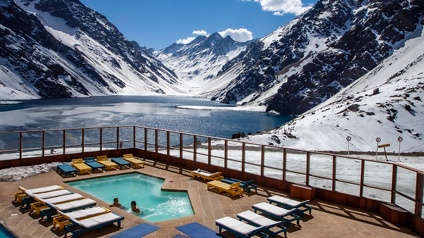 This is where the apres ski action would happen every afternoon. They roll out the bar and deliver your Pisco Sours right to you in the spa,