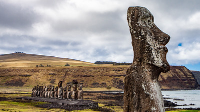 "The ""Wanderer"", a solitary moai that for some reason has it's back turned to the rest at Ahu Tongariki,"