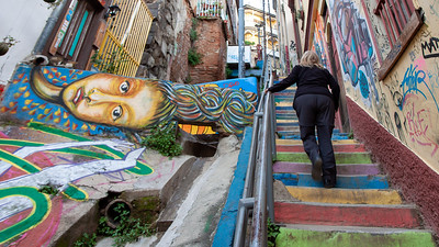 The stairs along Pasaje Fischer are never a chore to ascend Cerro Concepcion.  One always ends up stopping to appreciate the art along the way.