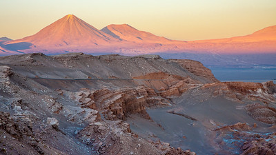 At 19, 423 feet (5, 920 meters) the conical shape of Licanabur Volcano dominates the view from Mirador de Kari, Atacama, Chile.