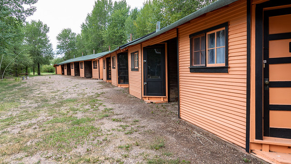The Black and Orange Cabins in Fort Bridger, Wyoming.  Built in the 1930's they provided lodging for travelers along the Lincoln Highway, the first transcontinental highway in the United States.