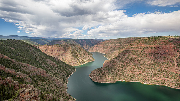 The view of looking east from the Red Canyon overlook of Flaming Gorge Reservoir, Utah.