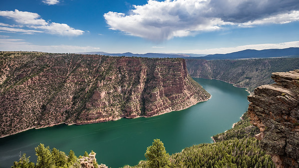 The view of looking west from the Red Canyon overlook of Flaming Gorge Reservoir, Utah.