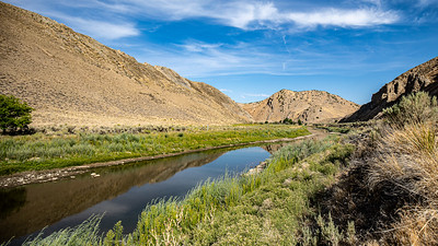 The Carlin Bend on the Humbolt River.  Once the route of the pioneers and their wagons traversing America on the California it is now bypassed by going through a tunnel on I-80.