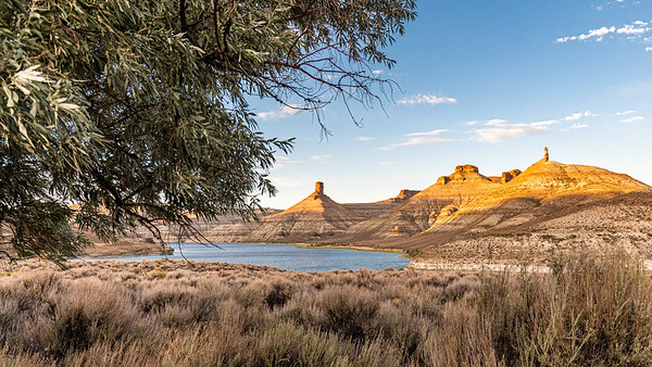 Sunset over Flaming Gorge Reservoir, North and South Chimney Rocks from the Firehole Campground.  Wyoming