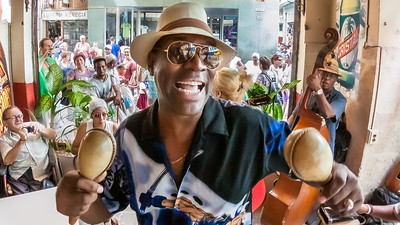 A salsa musician performs at El Escabeche, one of Havana's many bars along the Calle Obispo.