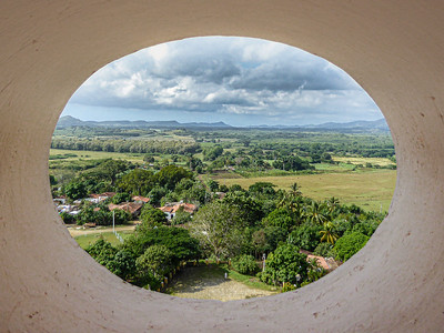 The view from the top of Torre de Manaca Iznaga looking over what was once the sugar cane fields of the Valle de los Ingenios of Trinidad.
