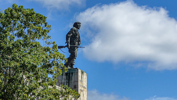 The 22 foot high statue of Che Guevara crowns the mausoleum where his remains are interned.  It was in Santa Clara where in 1958 Che Guevera helped Fidel Castro win the final battle of the Cuban Revolution and ousted the dictator Fulgencio Batista.