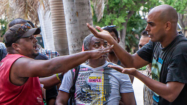 Debating politics is a popular pastime in Havana's Parque Central.