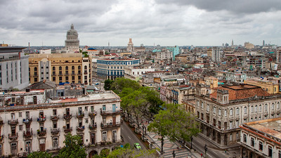 The view from the Roof  Garden of the Hotel Sevilla on El Prado overlooks Old Havana and the capitol building.