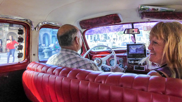 It wasn't until our last evening in Cuba that we found a birth year car for Linda to ride in.  I found mine early on, a very dilapidated 1953 Chevy.  Linda got the premiere ride, a restored 1948 DeSoto Checkered Cab.  She was in heaven.