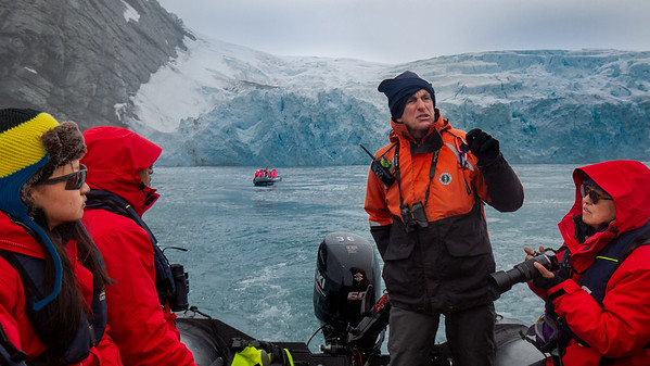 Damion at the helm giving a history lesson of Point Wild and Ernest Shackleton.