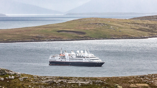 The Silver Explorer at anchor while we explore West Point Island in the Falklands.