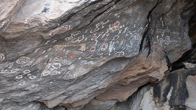 Pictographs are different than petroglyphs. Pictographs are painted on the walls whereas petroglyphs are carved into the stone.  The colored pigment is over 1,500 years old.