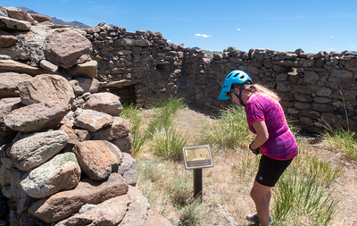 The pony express station at Cold Springs was a mile and a half up the hill from the highway.  It was a fine opportunity to take the mountain bikes out for a short spin.  Indian attacks were always a problem at this location.  Notice the gun ports in the walls behind Linda.