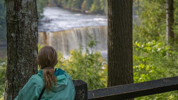 Linda enjoying the waterfalls at Tahquamenon State Park, Upper Peninsula, Michigan