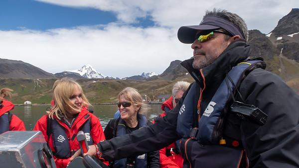 Linda on the zodiac, Scotty at the helm. Grytviken
