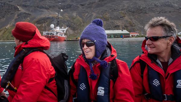 Linda on the zodiac inbound for Grytviken, South Georgia