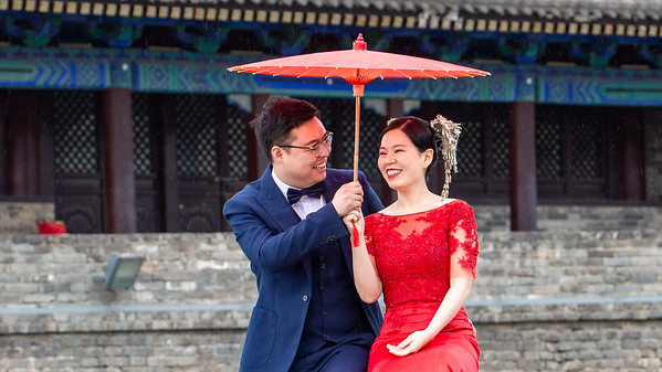 This couple was one of several couples all dressed alike taking advantage of the photo concession on the West gate. An excellent setting for a photo op.   Incidentally the wall is almost 9 miles in length surrounding the city. We rented bikes and rode around the entire top. At 40-50 feet wide fairly flat it is a great way to see Xi'an from above.