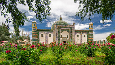 The absolutely stunning tile exterior and rose gardens of the Afāq Khoja Mausoleum.