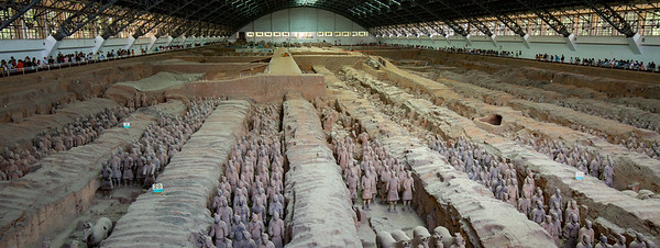 Today Xi'an is most known for the Terracotta Warriors a short bus ride from the city. Farmers in 1974 discovered terracotta warrior heads while digging water wells. Upon further excavation over 8,000 life sized warriors along with horses and chariots have been found. This was the funerary army to protect Emperor Qin Shi Huang who ruled China 2,200 years ago. The wealth of his kingdom gives evidence to the value of transported goods along the Silk Road even then. This 750 foot long hall contains over 6,000 figures.