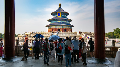 Another view from the main entrance to the Temple of Heaven complex in Beijing.  A travelers tip here.... a small traveling umbrella is a must to provide shade from the relentless sun while visiting outdoor sights.