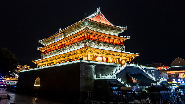 The Drum Tower in Xi'an. Like the bell tower it was also used for the reporting of time but more importantly it would announce the seasons, phases of the moon, harvesting of crops and other important events that took place through out the year.