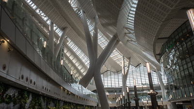 The futuristic Kowloon high speed train station that links Hong Kong with Guangzhou, China.