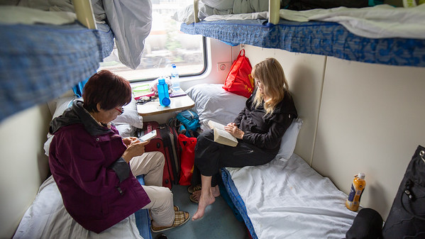 "Our ""hard sleeper"" compartment on the train from Guangzhou, China to Lhasa, Tibet.  6 people to a compartment and no other seating for the next 54 hours."