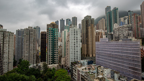 A view of towering apartment buildings from our hotel room starts our day in Hong Kong.