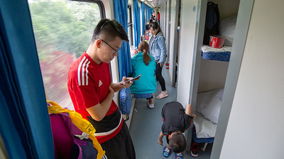 The passageway on the train gave some respite from the confines of our berth during our journey to Tibet.
