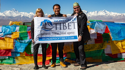 Linda and I with our guide Samtup on the summit of Pang La Pass