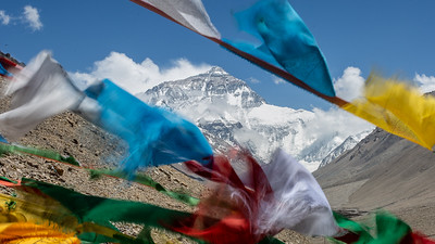 The view of Mt Everest from the Rongbuk Monastery.