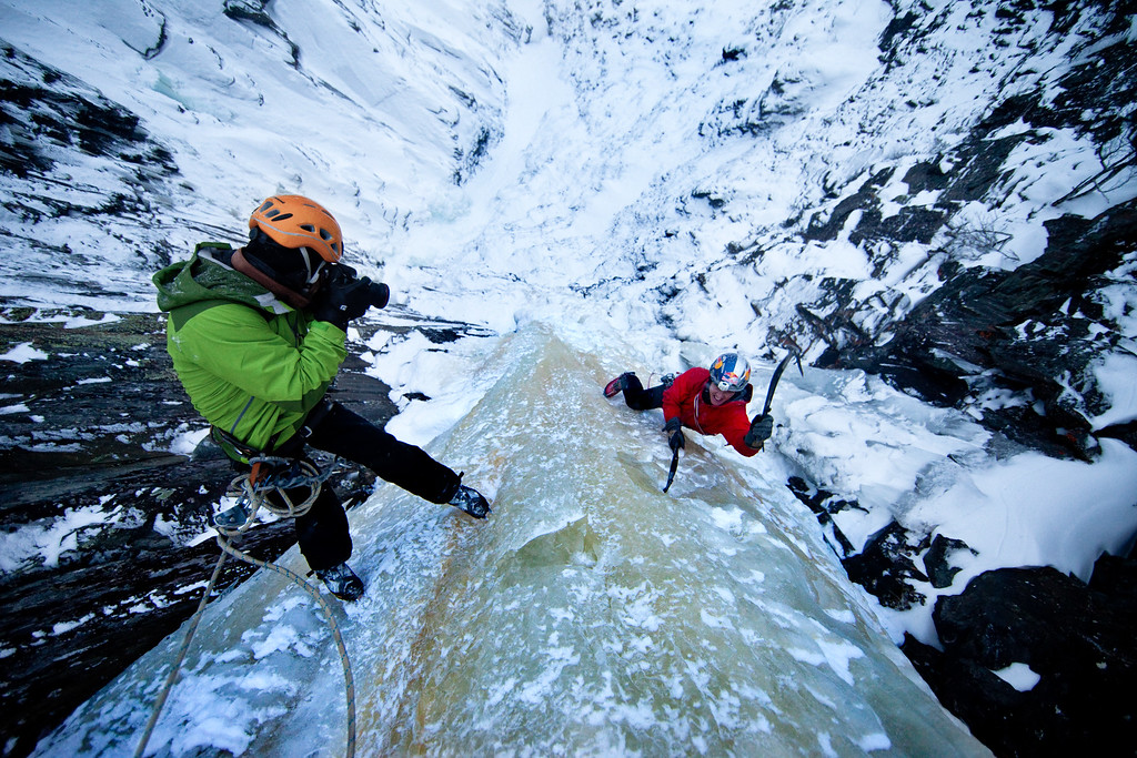 Location: Rjukan, Norway<br /> CLimber: Will Gadd<br /> Photographer: Christian Pondella<br /> Photographer: Christian Pondella<br /> February 15, 2010<br /> <br /> Route: Juvsøyla, WI6