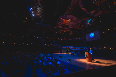 Oceanographer Dr. Sylvia Earle speaks to an audience in the performing arts center during the spring 2017 Distinguished Speaker Series at TAMU-CC.